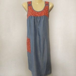Vintage chambray shift house dress